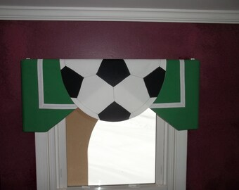 Custom Children's Soccer Valance for a Sports room, Playroom