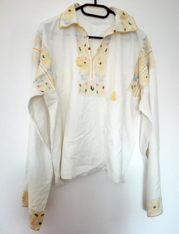 ethnic traditional costume man embroidery lace peasant blouse blouse shirt vintage called Romanian national Old IE wxaEq7Snn