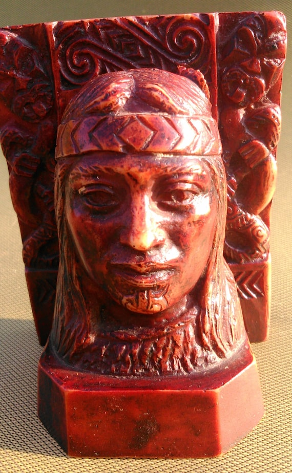 Vintage Resin Native American Indian Bust Statue Home Decor Etsy