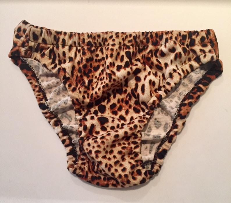 61bc4d909a0930 Brown Black Beige Leopard print design mens bikini brief | Etsy