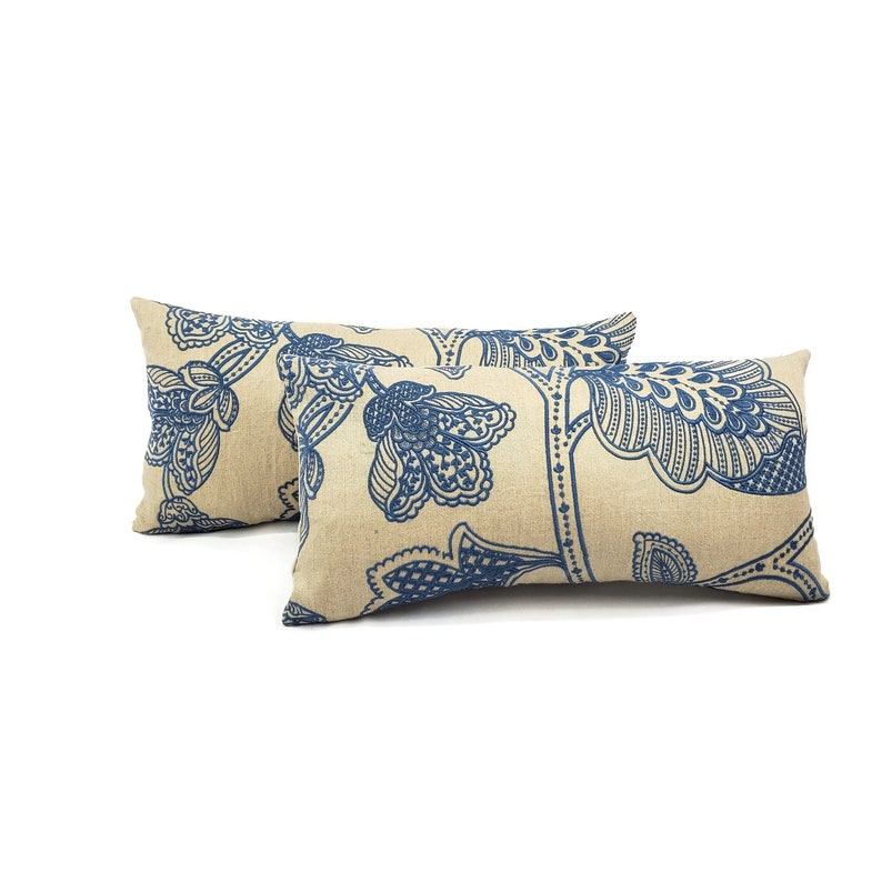 10 x 21 Manuel Canovas Madiran in the color Ciel Backed with Tan Linen Lumbar Pillow Cover