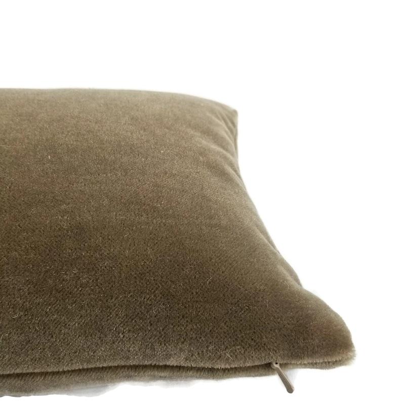 Harris Melrose Mohair Velvet in Linen Lumbar Pillow Cover 12 x 20 S Rectangle Brown Accent Cushion Case