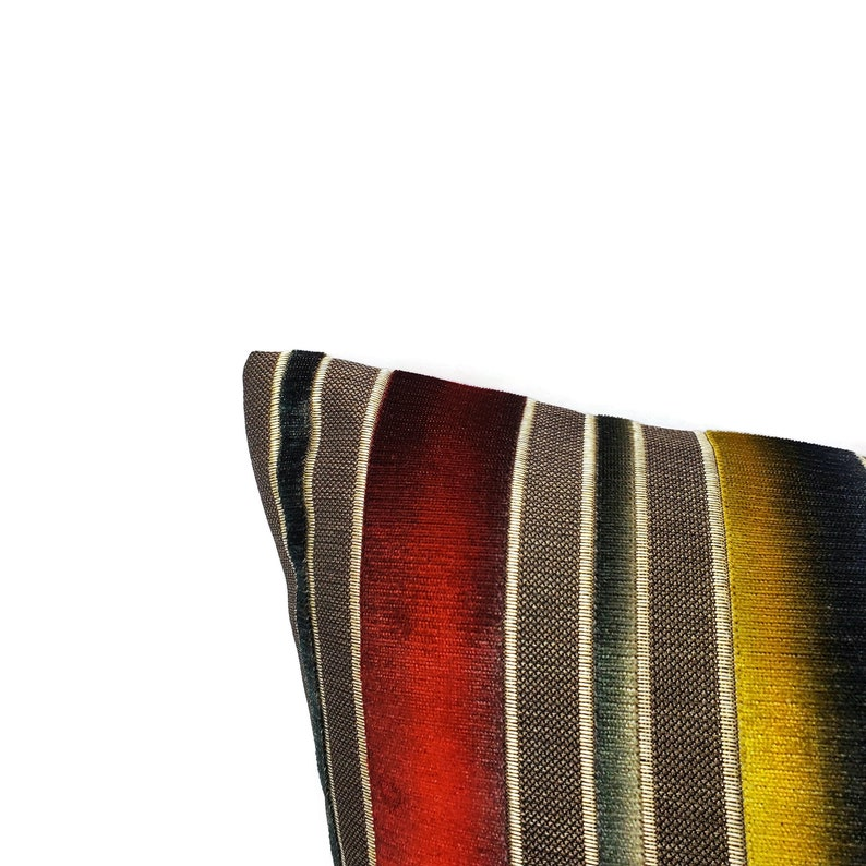 Fabric on BOTH SIDES Harris Siri Stripe in Sanguine Pillow Cover 20 x 20 Sunset Ombre Stripe Cut Velvet Cushion Case S