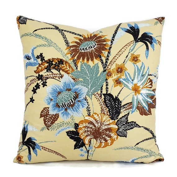 Rust Floral Cotton Pillow Cover