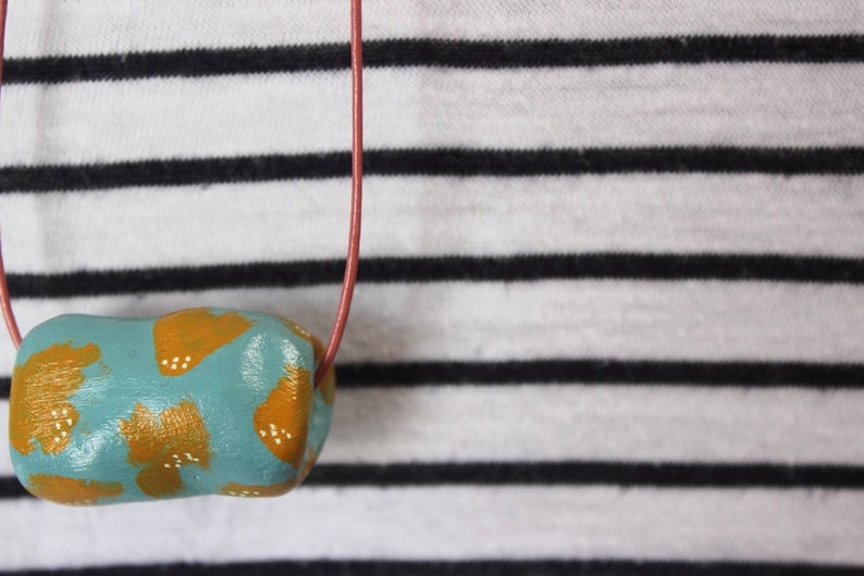 Handmade Clay Bold Beads Long Necklace  Simple Colourful image 0