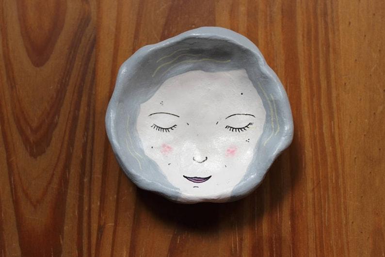 Clay Face Dish  Blue Hair  Trinket Dish  Ring Dish  Gift  image 0