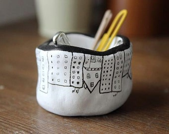 Handmade Illustrated Tiny Pot- Upside Down City Design. Ceramics, Jewellery pot. Desk/Office pots/Storage.