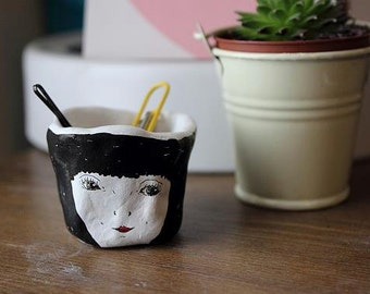 Handmade Illustrated Tiny Pot- Black Hair. Miniatures, Ceramics, Jewellery pot. Desk/Office pots/Storage.