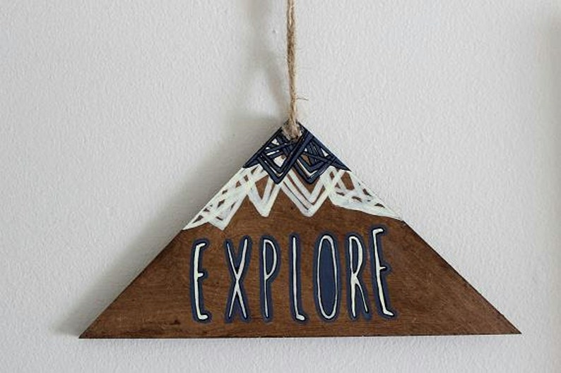 Wooden Wall Hanging. Hand Drawn Triangle/Mountain image 0