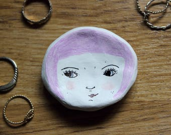 Handmade Illustrated Small Clay Face Dish. Jewellery/Ring/Trinket Dish. Lilac/Purple Hair. Quirky Gift.