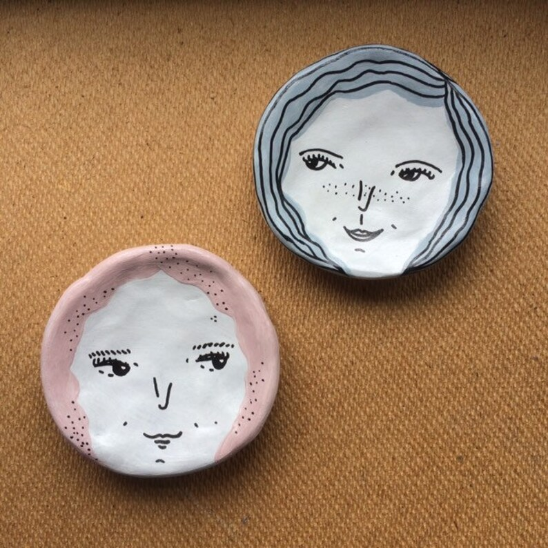 Face Clay Trinket Dishes  Pink Blue Hair  Home Decor  Gift image 0