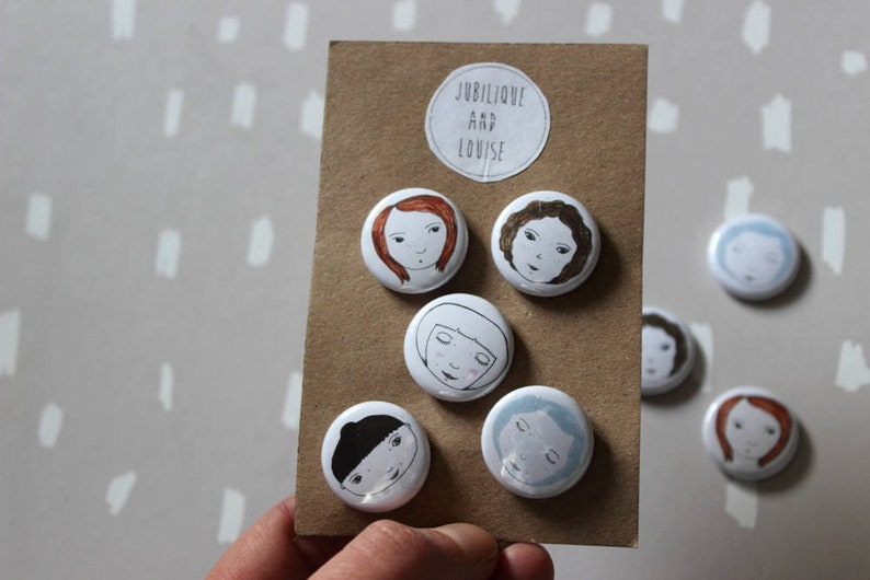 NEW SET of 5 Small Face Pin Badges. Hand drawn unique image 0