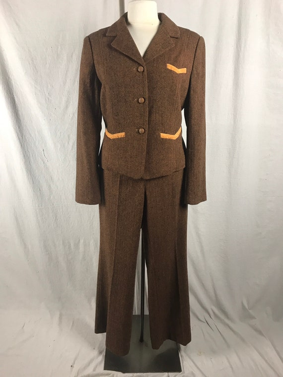 80s 90s 2pc Pant Suit-Tweed Rust/Black Sz 12