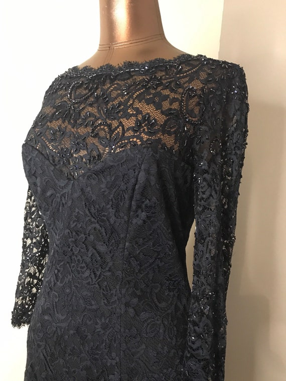 Tadashi Navy Lace And Beaded Gown Sz 10