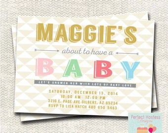 Gold Triangle  Baby shower Invitation