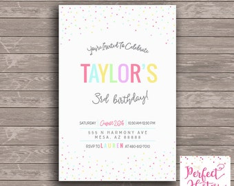 Colorful Sprinkle-- Birthday Invitation