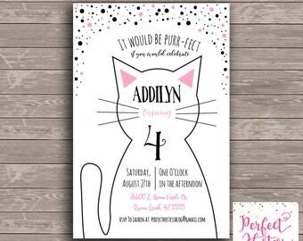 Black and White Kitty Cat- Birthday Invitation