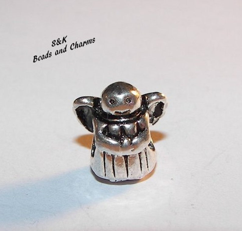 925 sterling silver angel charm European large hole bead charm to  fit snake chain bracelet