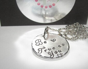 sterling silver, Hand stamped jewelry, Be true to you, mommy necklace, personalized, engraved, mommy jewelry, personalized charms