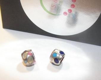 925 sterling enamel charm, large hole charm bead for snake chain bracelets, European charm bracelet charms
