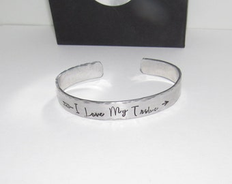 personalized I Love my tribe personalized bracelet, custom personalized hand stamped  quote bracelet,  brides maids wedding gift,