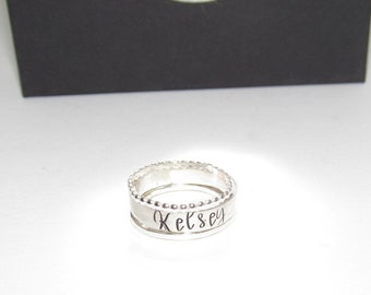 Sterling silver stacking ring for mom, Rings with Names, Stacking Name Rings, Stacked Name Rings for mom , mothers rings, engraved ring