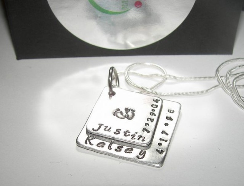 Sterling silver 2 layer Mommy necklace mothers necklac Mommy 2 layer stacked necklace Hand stamped jewelry personalized jewelry