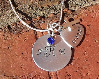 custom monogram necklace , hand stamped jewelry, personalized jewelry, dedication charm, personalized jewelry, handstamped jewelry