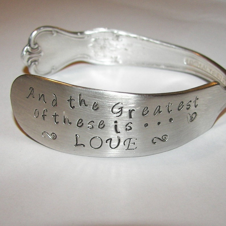 custom bracelet The greatest of these is love Bridal jewelry mother jewelry cuff wedding jewelry anniversary gift vintage jewelry