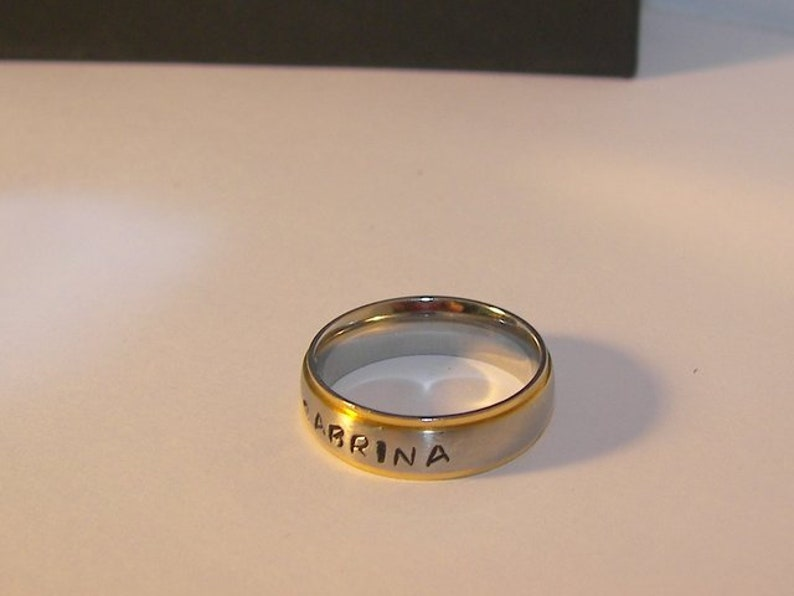 Hand stamped name ring for dad Fathers day gift #1 dad ring custom personalized gift for dad stainless steel rings