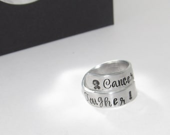 personalized Sterling silver Cancer is tough but I am tougher wrap ring, personalized hand stamped jewelry, cancer survivor ring