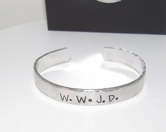 W.W.J.D  cuff bracelet, what would Jesus do bracelet.  custom personalized jewelry and gifts, personalized gifts for moms and friends,