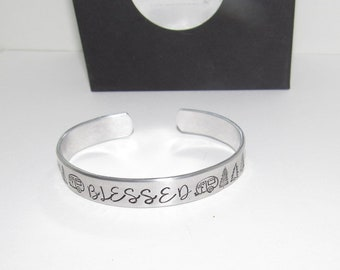 Sterling silver Blessed stamped Cuff, Daily Reminder Inspirational Jewelry, Motivational Bracelet Hand Stamped jewelry, personalized jewelry