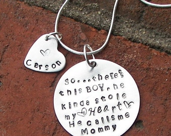 Mommy necklace, boy mom gift, mother son jewelry , mother necklace, grandma necklace , MAMA necklace, Aunt necklace ,mother gift from son