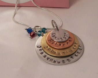 4 layer mom necklace, sterling silver, custom hand stamped, hand stamped jewelry, personalized charm, mothers necklace, handstamped jewelry