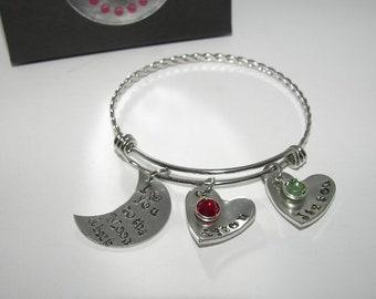 I love you to the moon and back adjustable bangle bracelet, custom personalized hand stamped bangel bracelet, mothers bangle with kids names