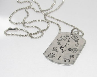 Boys personalized Kids name necklace , Personalized Hand stamped jewelry , Dog tag Name jewelry for boys, handstamped jewelry