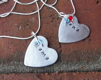Sterling silver, mothers necklace,  Hand stamped jewelry, personalized, mommy jewelry, personalized jewelry, hand stamped, custom charm
