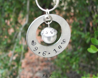 mothers necklace, custom name necklace , personalized necklace, hand stamped jewelry, personalized jewelry, pearl charm, handstamped jewelry