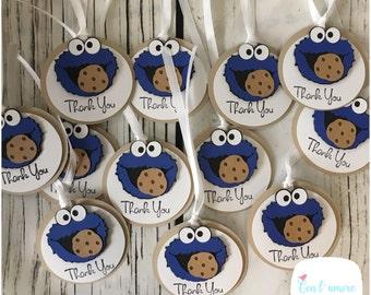 Sesame street Cookie Monster birthday party favor tags, cookie monster thank you tags, cookie monster favor tags, Cookie Monster