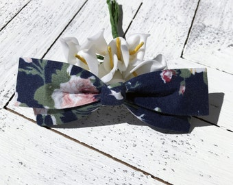 Navy floral hair bow for women hair barrette fabric bow with alligator clip adult hair bow