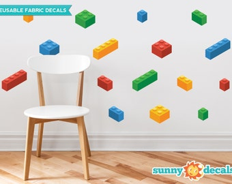 Building Block Bricks Fabric Wall Decals Set Of 16 Blocks In 4 Colors - Removable Reusable Respositionable - Sunny Decals  sc 1 st  Etsy & Lego wall decals | Etsy