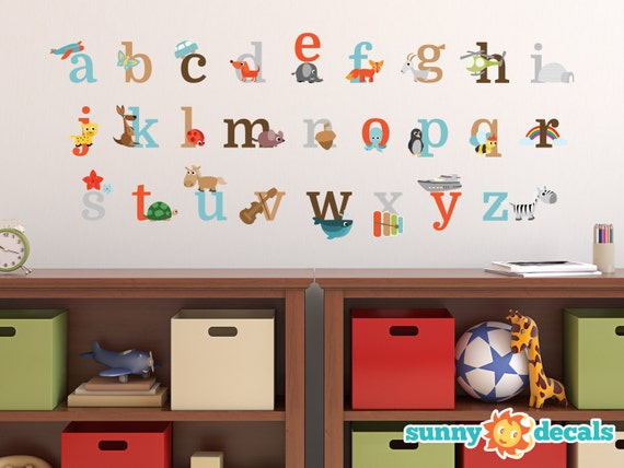 2 Sizes Free Shipping! Alphabet Repositionable Fabric Wall Decals