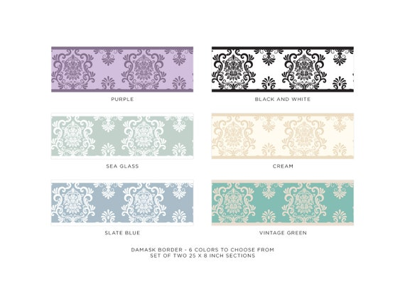 """Damask Wall Border Fabric Wall Decal 6 Color Op Set Of Two 25/"""" x 8/"""" Sections"""