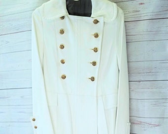 WOW! INCREDIBLE One of a Kind Womens Vintage White Leather Floor Length Coat - SCULLY - Trench Steampunk Long Coat- Clean and Nice! Size 8
