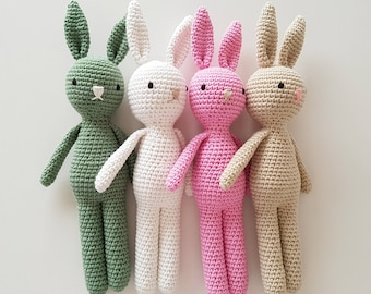 PINK Crochet Easter Bunny Rabbit READY to SHIP - Baby Easter Gift - Nursery Decor or Baby Shower Gift, Pregnancy Announcement
