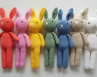Custom Cotton Crochet Bunny - Made to Order - Heirloom Quality Plush Toy for Baby Toddler - Easter Gift for Baby