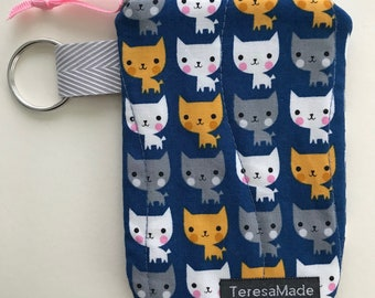 X-Small Blue Kitty Zip Pouch
