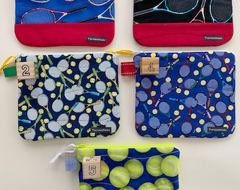 Small Tennis Print Zip Pouch (5 color choices)