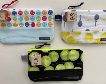 X-Small Tennis Print Zip Pouch (3 color choices)